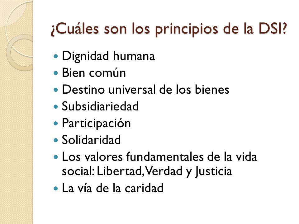 ¿Cuáles son los principios de la DSI? Dignidad humana Bien común Destino universal de los bienes Subsidiariedad Participación Solidaridad Los valores