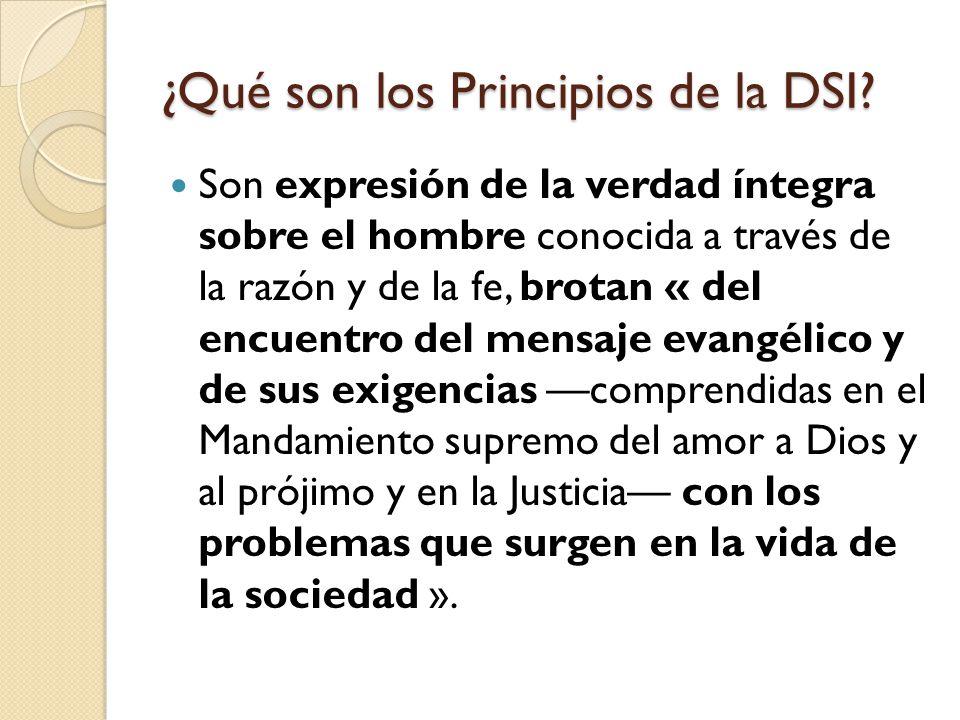 ¿Qué son los Principios de la DSI? Son expresión de la verdad íntegra sobre el hombre conocida a través de la razón y de la fe, brotan « del encuentro