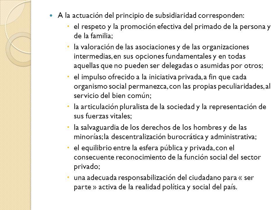 A la actuación del principio de subsidiaridad corresponden: el respeto y la promoción efectiva del primado de la persona y de la familia; la valoració