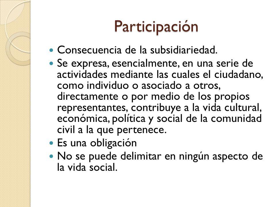 Participación Consecuencia de la subsidiariedad. Se expresa, esencialmente, en una serie de actividades mediante las cuales el ciudadano, como individ