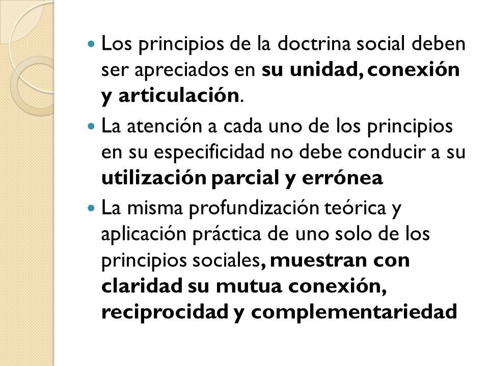 Los principios de la doctrina social deben ser apreciados en su unidad, conexión y articulación. La atención a cada uno de los principios en su especi