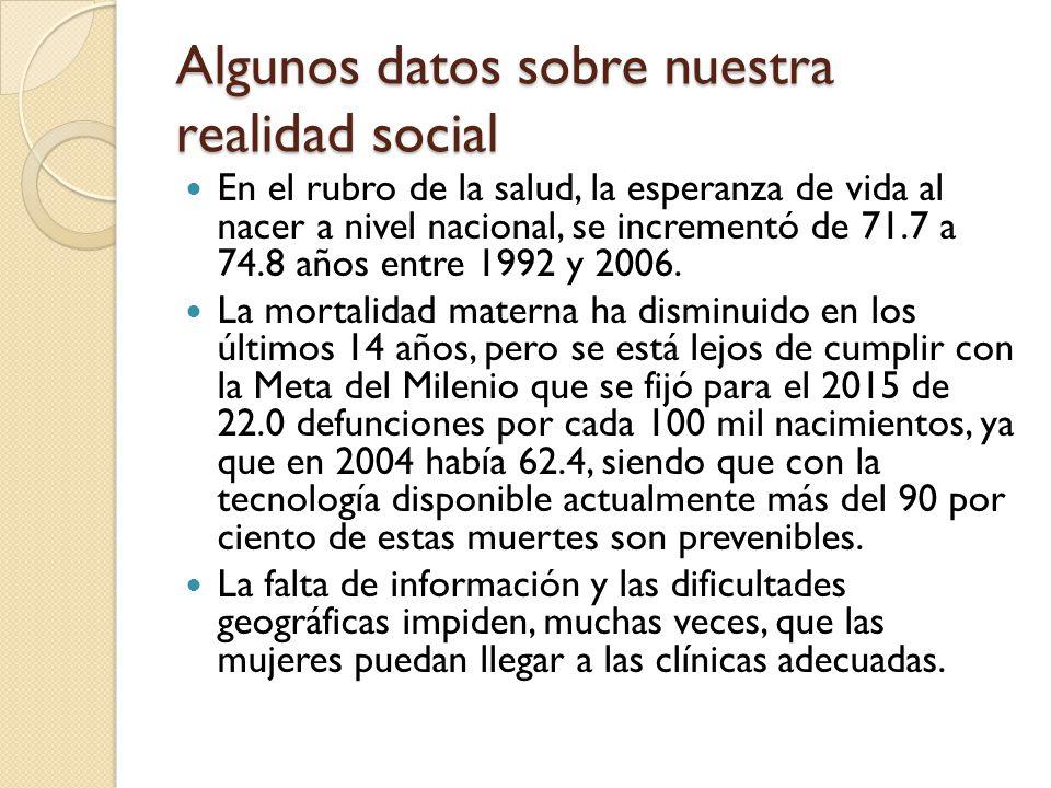 Algunos datos sobre nuestra realidad social En el rubro de la salud, la esperanza de vida al nacer a nivel nacional, se incrementó de 71.7 a 74.8 años