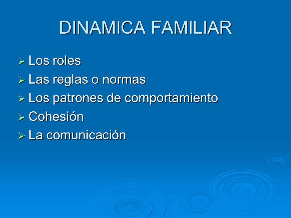 DINAMICA FAMILIAR Los roles Los roles Las reglas o normas Las reglas o normas Los patrones de comportamiento Los patrones de comportamiento Cohesión Cohesión La comunicación La comunicación