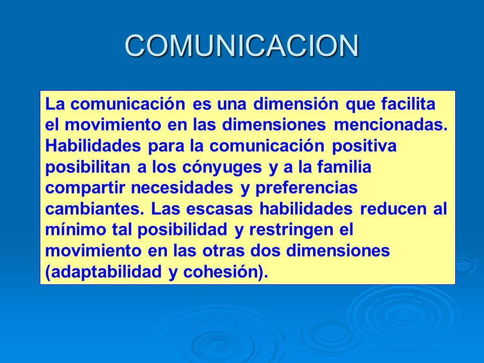 COMUNICACION La comunicación es una dimensión que facilita el movimiento en las dimensiones mencionadas.