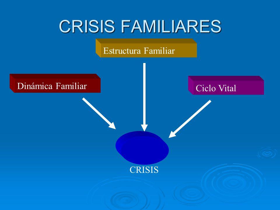 CRISIS FAMILIARES Estructura Familiar Dinámica Familiar Ciclo Vital CRISIS
