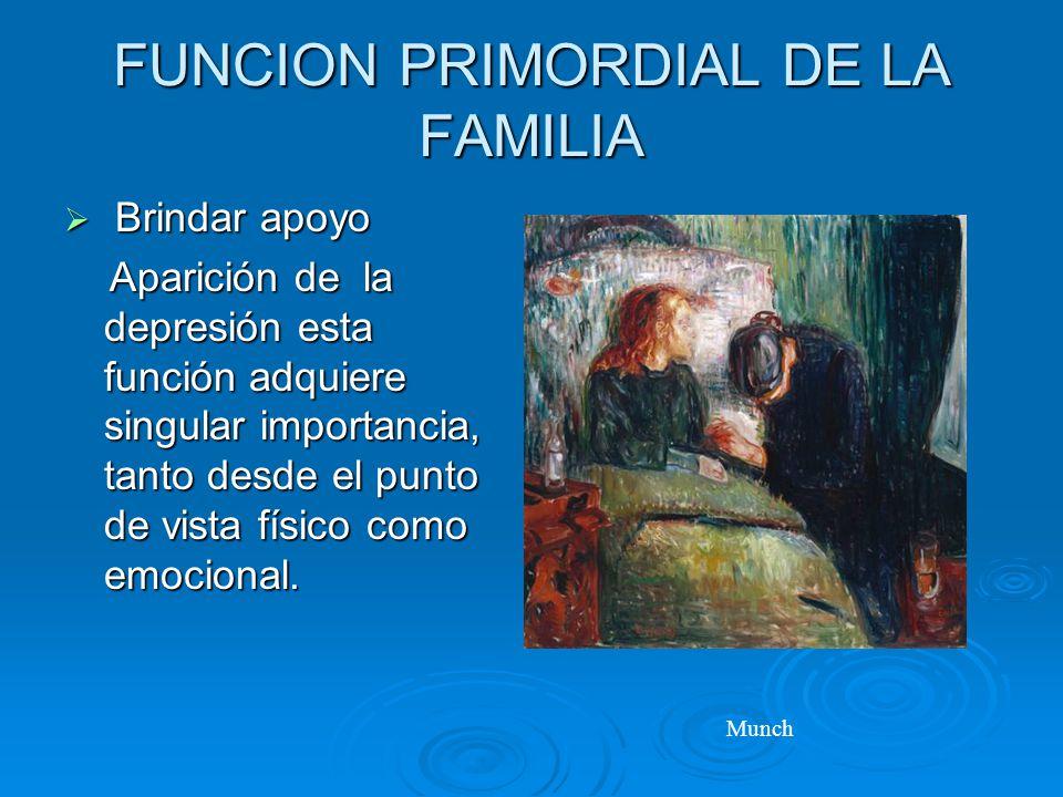 FUNCION PRIMORDIAL DE LA FAMILIA Brindar apoyo Brindar apoyo Aparición de la depresión esta función adquiere singular importancia, tanto desde el punto de vista físico como emocional.