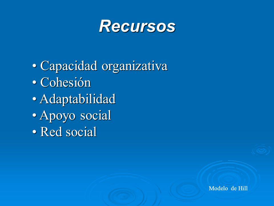Recursos Capacidad organizativa Capacidad organizativa Cohesión Cohesión Adaptabilidad Adaptabilidad Apoyo social Apoyo social Red social Red social Modelo de Hill