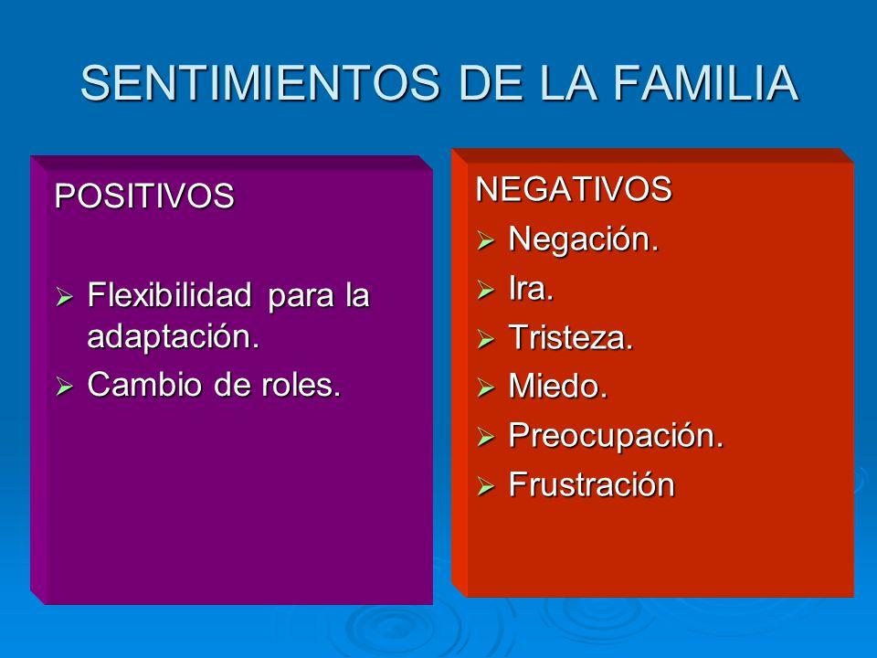 SENTIMIENTOS DE LA FAMILIA POSITIVOS Flexibilidad para la adaptación.