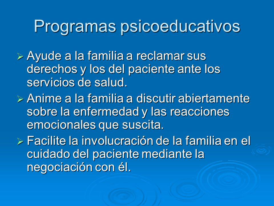 Programas psicoeducativos Ayude a la familia a reclamar sus derechos y los del paciente ante los servicios de salud.