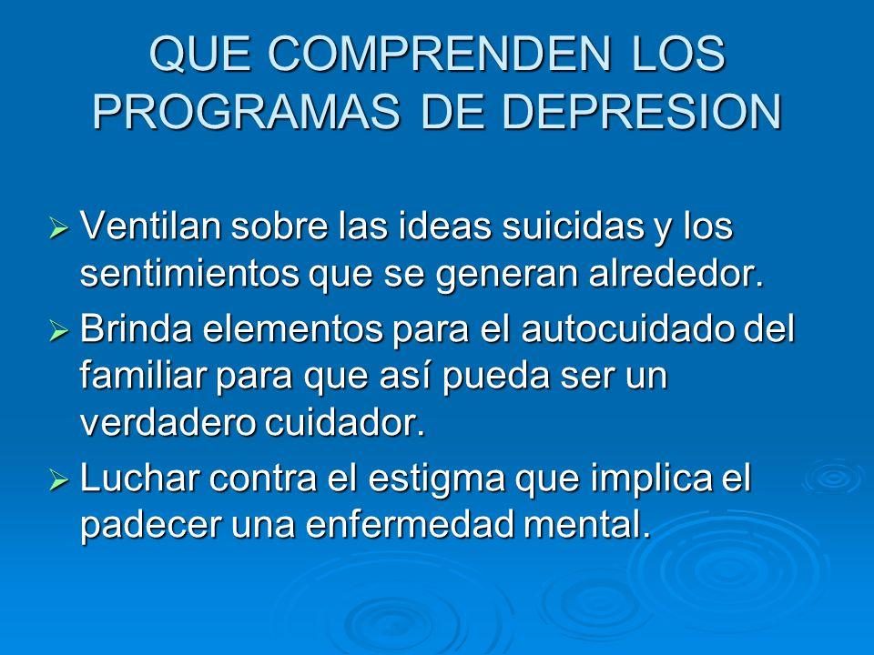 Ventilan sobre las ideas suicidas y los sentimientos que se generan alrededor.
