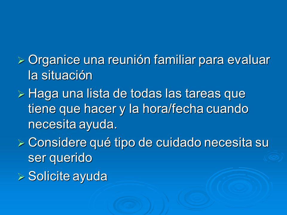 Organice una reunión familiar para evaluar la situación Organice una reunión familiar para evaluar la situación Haga una lista de todas las tareas que tiene que hacer y la hora/fecha cuando necesita ayuda.