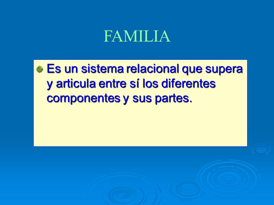 FAMILIA Es un sistema relacional que supera y articula entre sí los diferentes componentes y sus partes.