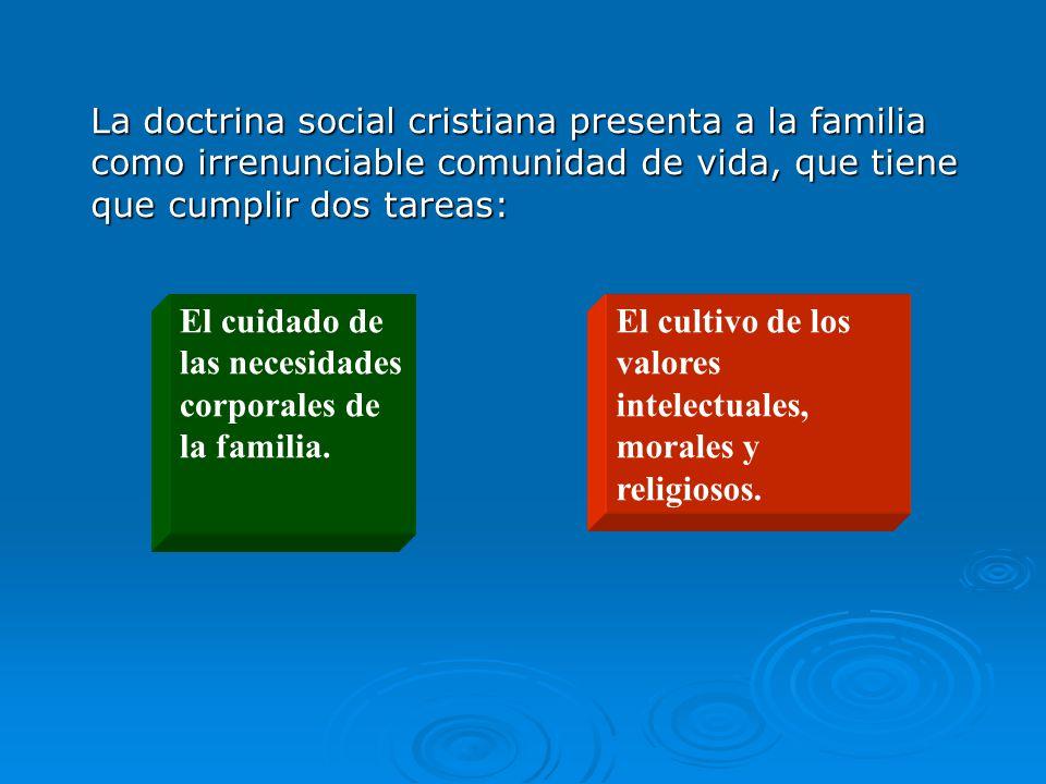 La doctrina social cristiana presenta a la familia como irrenunciable comunidad de vida, que tiene que cumplir dos tareas: El cuidado de las necesidades corporales de la familia.
