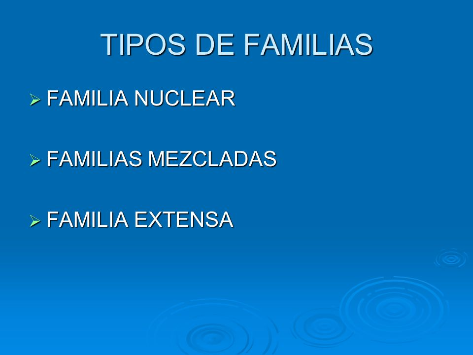 TIPOS DE FAMILIAS FAMILIA NUCLEAR FAMILIA NUCLEAR FAMILIAS MEZCLADAS FAMILIAS MEZCLADAS FAMILIA EXTENSA FAMILIA EXTENSA