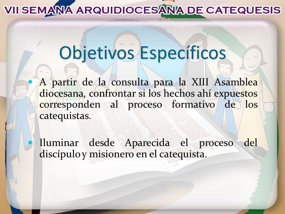 Objetivos Específicos A partir de la consulta para la XIII Asamblea diocesana, confrontar si los hechos ahí expuestos corresponden al proceso formativ