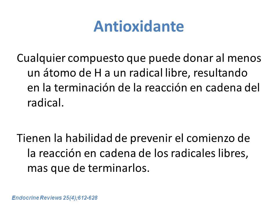 Antioxidante Cualquier compuesto que puede donar al menos un átomo de H a un radical libre, resultando en la terminación de la reacción en cadena del