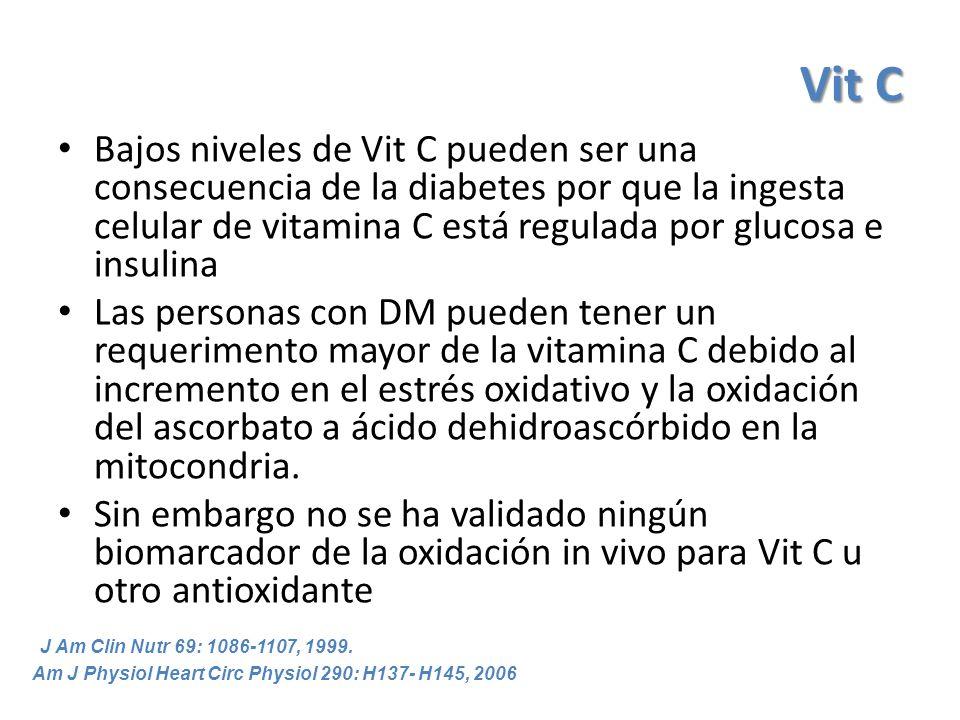 Vit C Bajos niveles de Vit C pueden ser una consecuencia de la diabetes por que la ingesta celular de vitamina C está regulada por glucosa e insulina