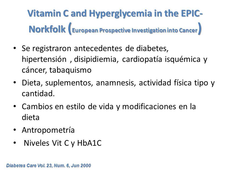 Vitamin C and Hyperglycemia in the EPIC- Norkfolk ( European Prospective Investigation into Cancer ) Se registraron antecedentes de diabetes, hiperten
