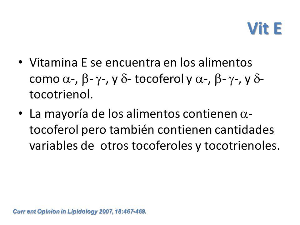 Vit E Vitamina E se encuentra en los alimentos como -, - -, y - tocoferol y -, - -, y - tocotrienol. La mayoría de los alimentos contienen - tocoferol