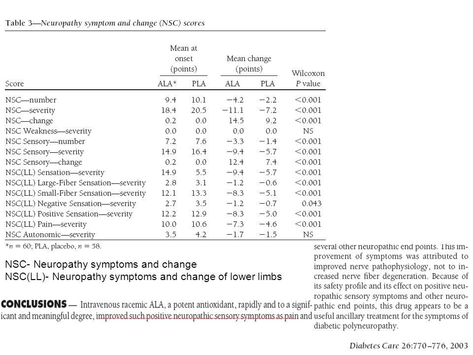 NSC- Neuropathy symptoms and change NSC(LL)- Neuropathy symptoms and change of lower limbs