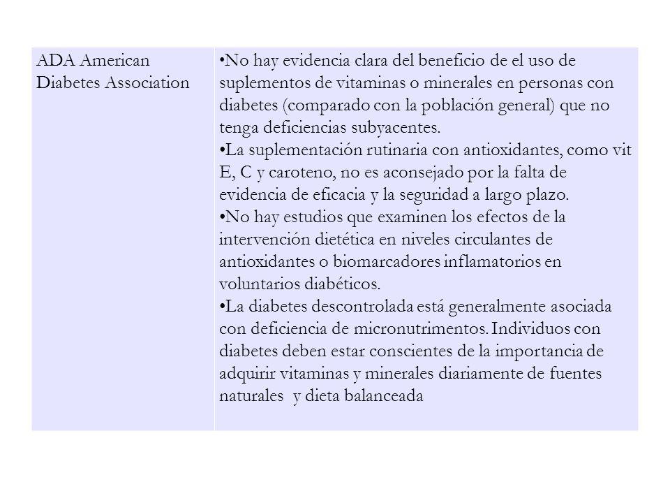 ADA American Diabetes Association No hay evidencia clara del beneficio de el uso de suplementos de vitaminas o minerales en personas con diabetes (com