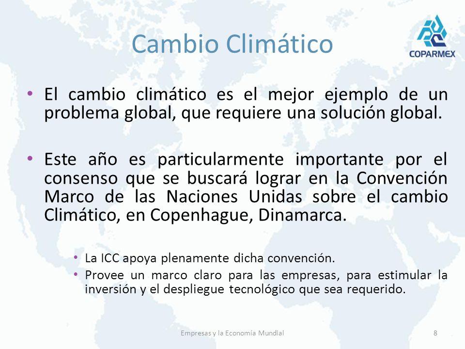 Cambio Climático El cambio climático es el mejor ejemplo de un problema global, que requiere una solución global. Este año es particularmente importan