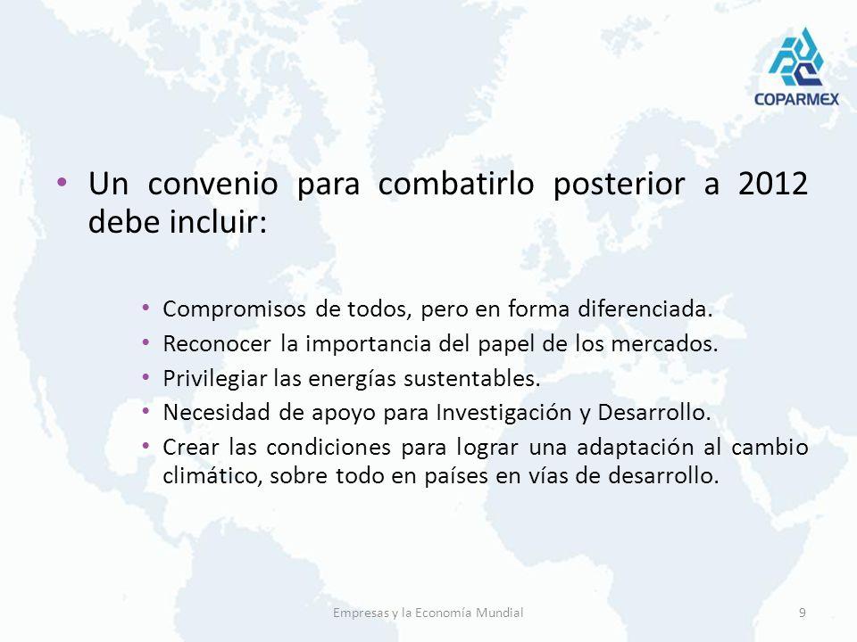 Un convenio para combatirlo posterior a 2012 debe incluir: Compromisos de todos, pero en forma diferenciada. Reconocer la importancia del papel de los