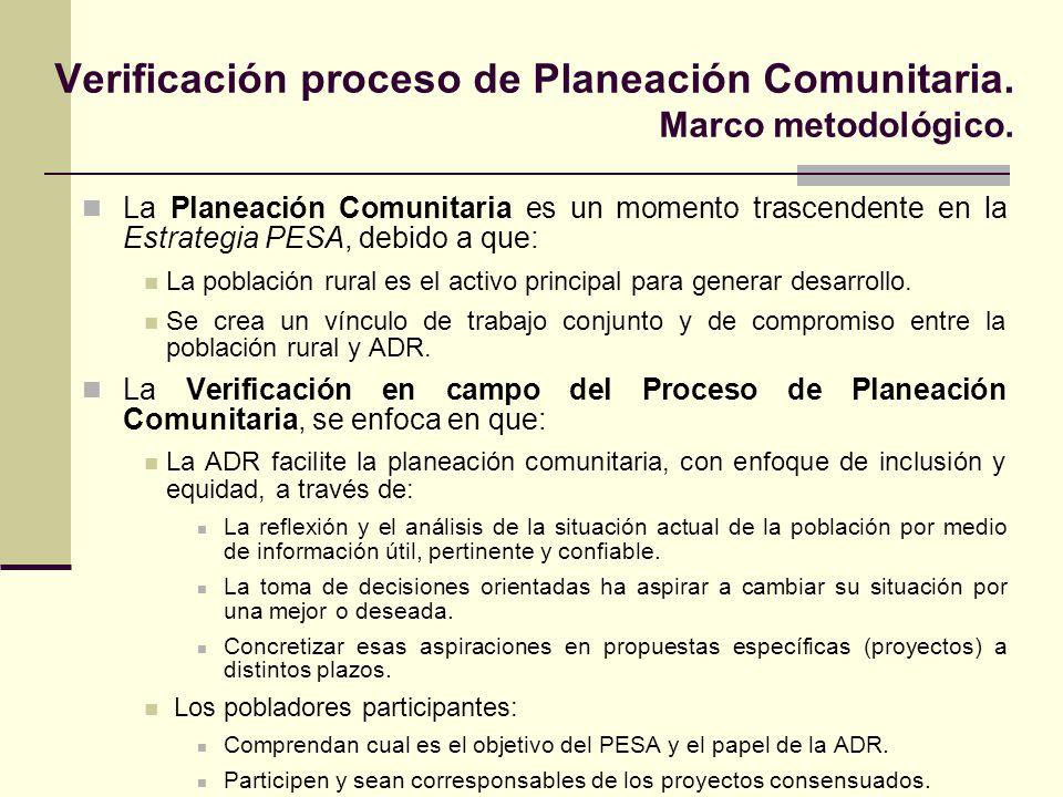 Los criterios de verificación son: Forma en que la ADR dio atención al proceso metodológico.