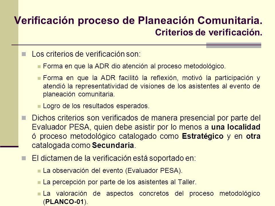 Los criterios de verificación son: Forma en que la ADR dio atención al proceso metodológico. Forma en que la ADR facilitó la reflexión, motivó la part