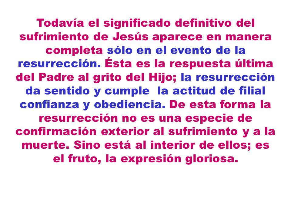 Todavía el significado definitivo del sufrimiento de Jesús aparece en manera completa sólo en el evento de la resurrección. Ésta es la respuesta últim