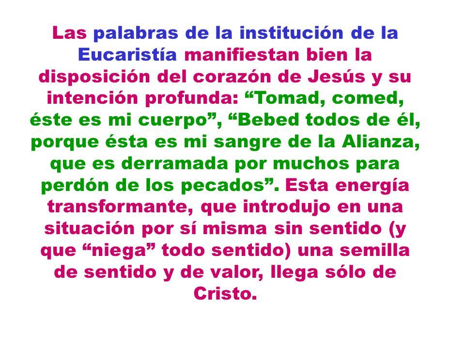 Las palabras de la institución de la Eucaristía manifiestan bien la disposición del corazón de Jesús y su intención profunda: Tomad, comed, éste es mi