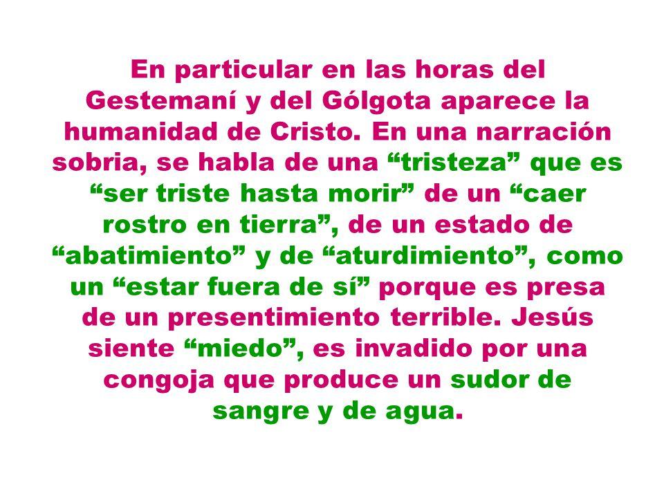 En particular en las horas del Gestemaní y del Gólgota aparece la humanidad de Cristo. En una narración sobria, se habla de una tristeza que es ser tr