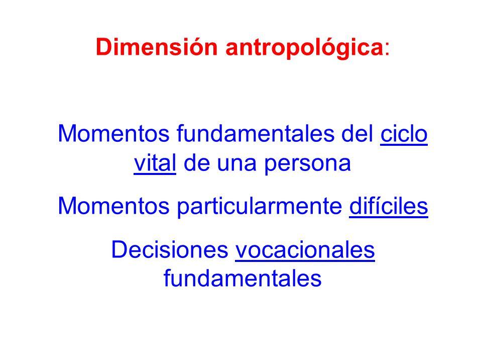 Dimensión antropológica: Momentos fundamentales del ciclo vital de una persona Momentos particularmente difíciles Decisiones vocacionales fundamentale