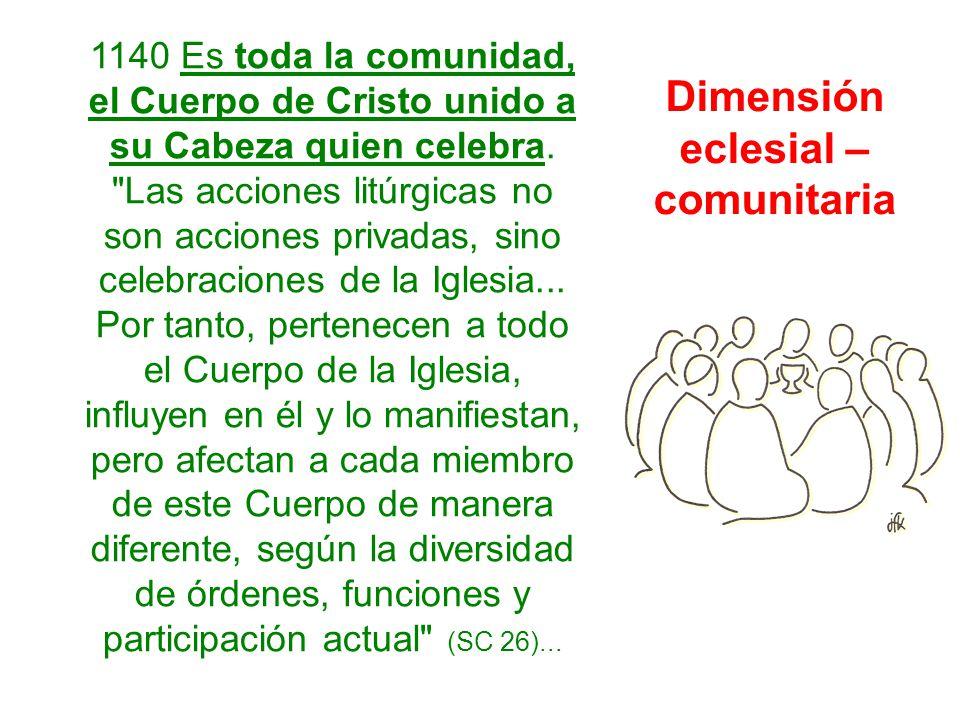 1140 Es toda la comunidad, el Cuerpo de Cristo unido a su Cabeza quien celebra.