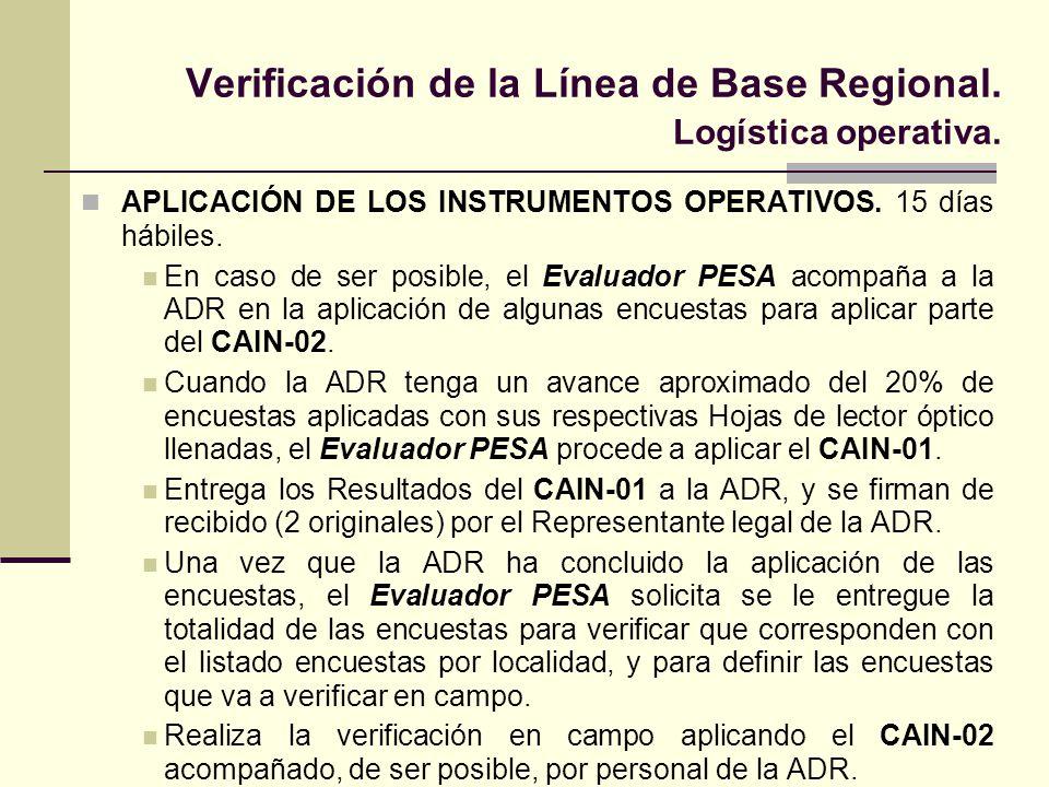 Verificación de la Línea de Base Regional. Logística operativa. APLICACIÓN DE LOS INSTRUMENTOS OPERATIVOS. 15 días hábiles. En caso de ser posible, el