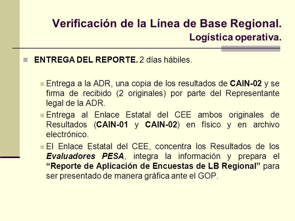 Verificación de la Línea de Base Regional. Logística operativa. ENTREGA DEL REPORTE. 2 días hábiles. Entrega a la ADR, una copia de los resultados de