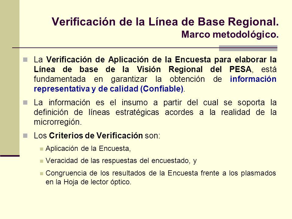 Verificación de la Línea de Base Regional. Marco metodológico. La Verificación de Aplicación de la Encuesta para elaborar la Línea de base de la Visió