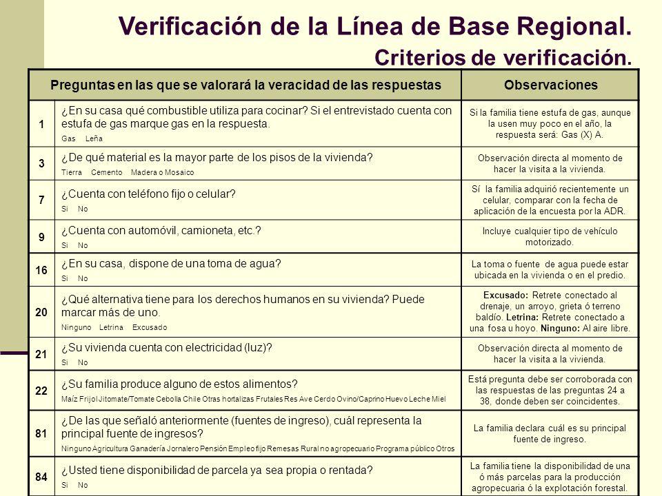 Verificación de la Línea de Base Regional. Criterios de verificación. Preguntas en las que se valorará la veracidad de las respuestasObservaciones 1 ¿