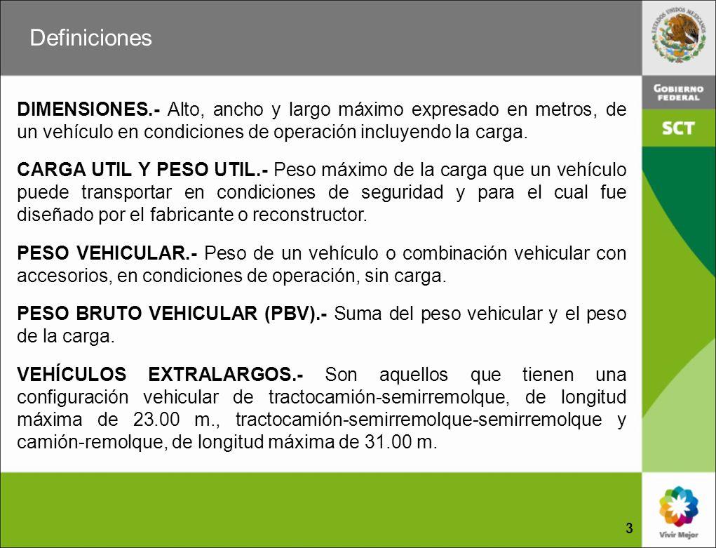 DIMENSIONES.- Alto, ancho y largo máximo expresado en metros, de un vehículo en condiciones de operación incluyendo la carga. CARGA UTIL Y PESO UTIL.-