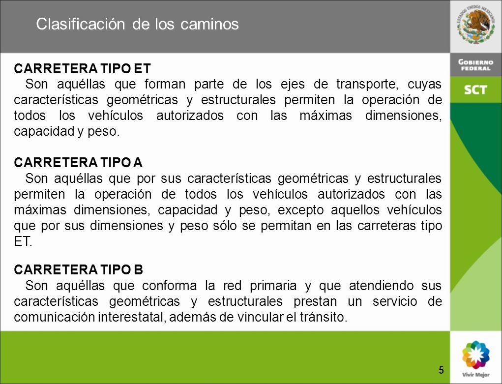 Clasificación de los caminos CARRETERA TIPO ET Son aquéllas que forman parte de los ejes de transporte, cuyas características geométricas y estructura