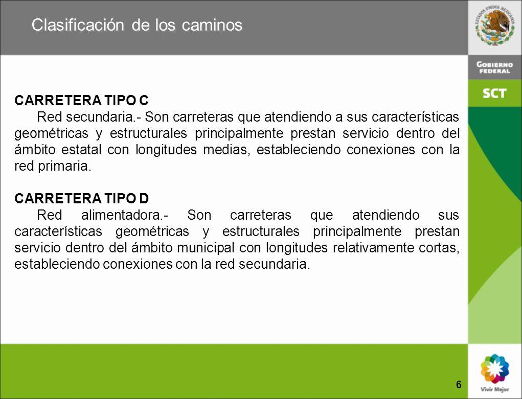 CARRETERA TIPO C Red secundaria.- Son carreteras que atendiendo a sus características geométricas y estructurales principalmente prestan servicio dent
