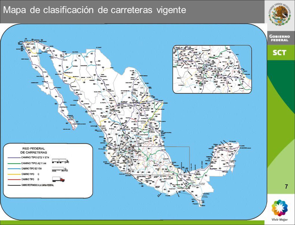 Mapa de clasificación de carreteras vigente 7