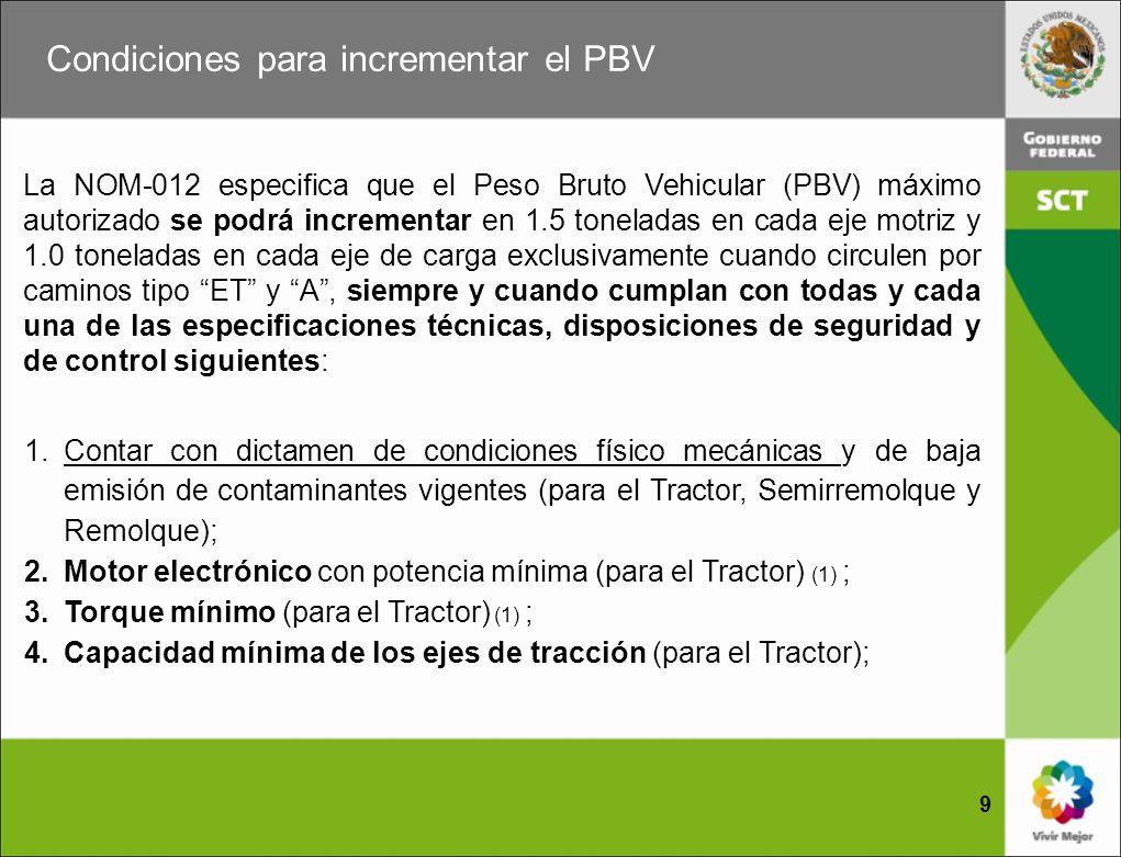 Condiciones para incrementar el PBV 10 5.Freno auxiliar de motor o retardador o freno libre de fricción (para el Tractor); 6.Convertidor equipado con doble cadena de seguridad; 7.Sistema antibloqueo para frenos (para el Tractor, Semirremolque y Remolque) (1) ; y 8.Suspensión de aire (excepto eje direccional-delantero) (para el Tractor, Semirremolque y Remolque).