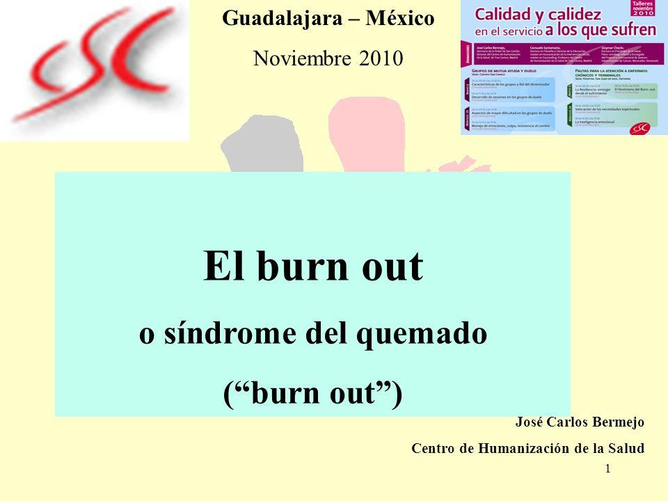 1 El burn out o síndrome del quemado (burn out) José Carlos Bermejo Centro de Humanización de la Salud Guadalajara – México Noviembre 2010