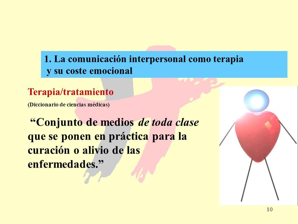 10 1. La comunicación interpersonal como terapia y su coste emocional Terapia/tratamiento (Diccionario de ciencias médicas) Conjunto de medios de toda