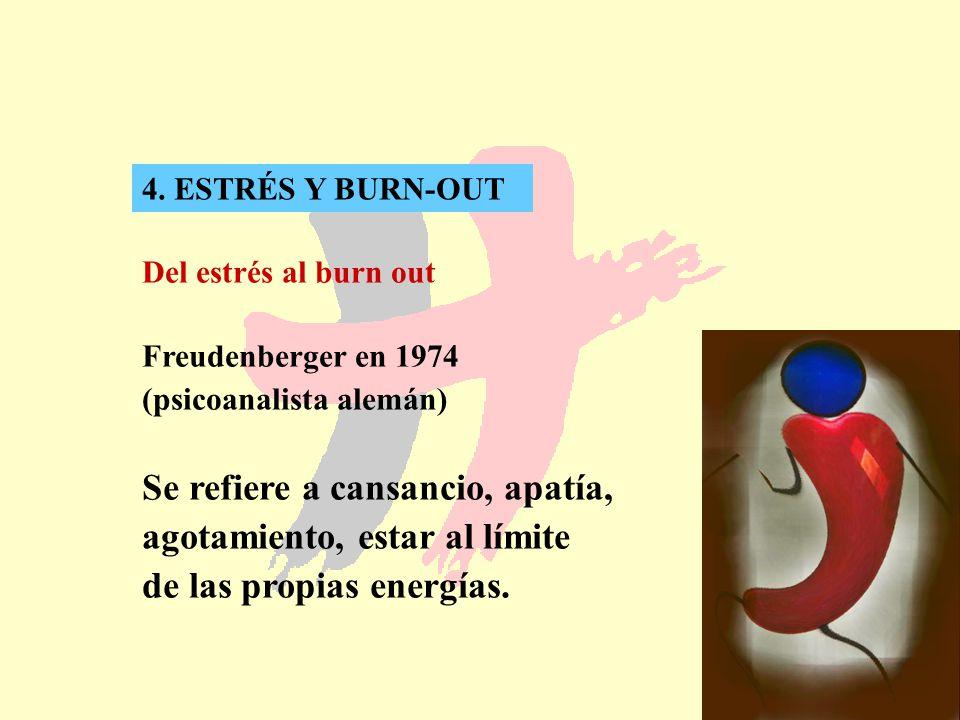 24 4. ESTRÉS Y BURN-OUT Del estrés al burn out Freudenberger en 1974 (psicoanalista alemán) Se refiere a cansancio, apatía, agotamiento, estar al lími