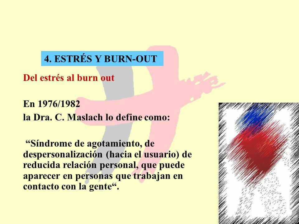 25 4. ESTRÉS Y BURN-OUT Del estrés al burn out En 1976/1982 la Dra. C. Maslach lo define como: Síndrome de agotamiento, de despersonalización (hacia e