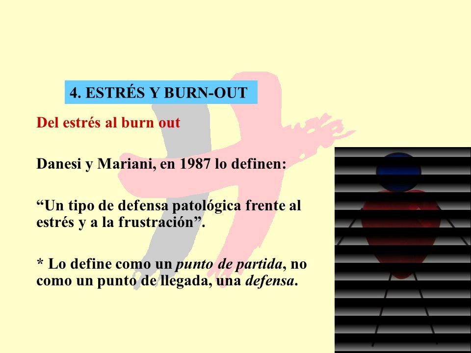 26 4. ESTRÉS Y BURN-OUT Del estrés al burn out Danesi y Mariani, en 1987 lo definen: Un tipo de defensa patológica frente al estrés y a la frustración