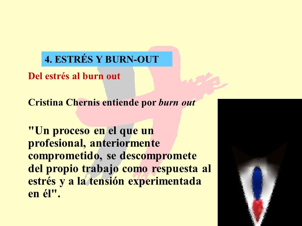 27 4. ESTRÉS Y BURN-OUT Del estrés al burn out Cristina Chernis entiende por burn out
