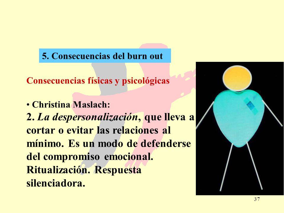 37 5. Consecuencias del burn out Consecuencias físicas y psicológicas Christina Maslach: 2. La despersonalización, que lleva a cortar o evitar las rel
